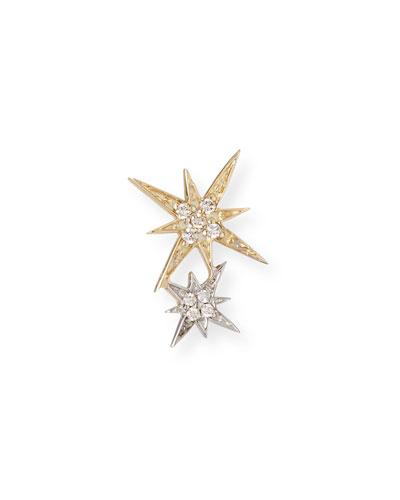 14k Yellow and White Gold Diamond Starburst Earring, Single