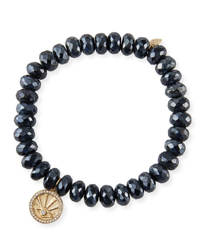 14k Black Spinel Diamond Evil Eye Coin Bracelet