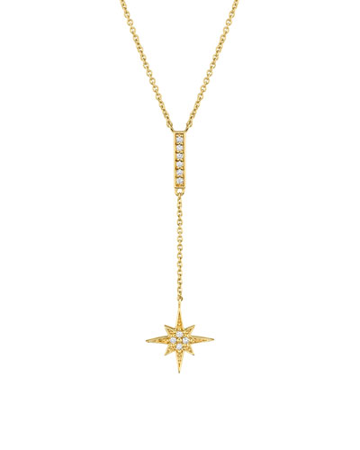14k Diamond Starburst Y-Drop Necklace