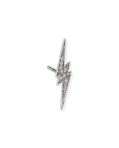 14k White Gold Diamond Lightning Bolt Stud Earring, Single