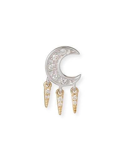 14k Diamond Crescent Moon Fringe Earring, Single, Right