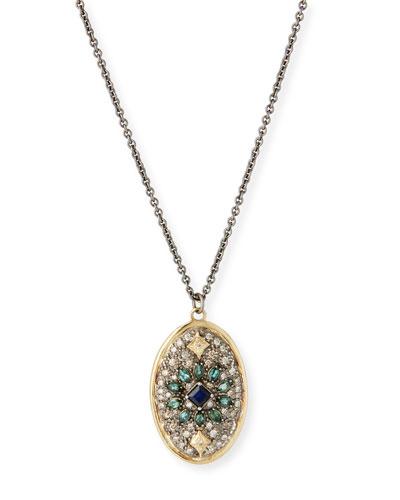 Old World Diamond Pave Oval Necklace