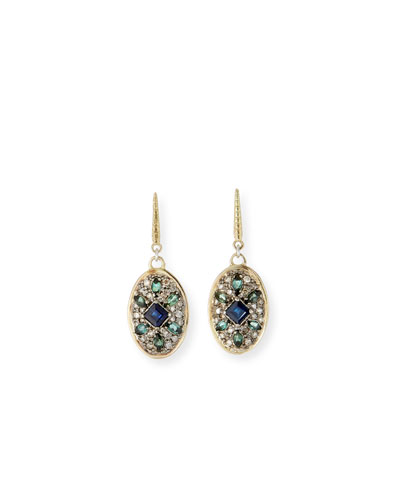 Old World Diamond Pave Oval-Drop Earrings