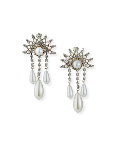 Crystal 3-Dangle Clip Earrings