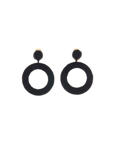 Raffia Hoop-Drop Clip Earrings