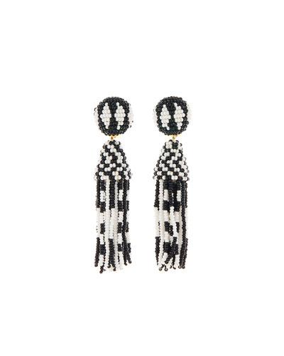 Short Beaded Tassel Clip Earrings, Black/White