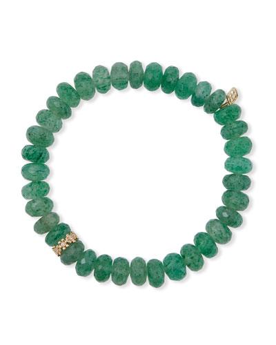 14k Diamond Daisy Rondelle Green Quartz Bracelet