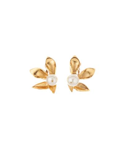 Pearly Flower Stud Earrings