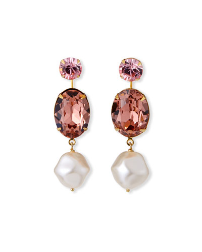 Meredith Pearly and Crystal Drop Earrings, Rose