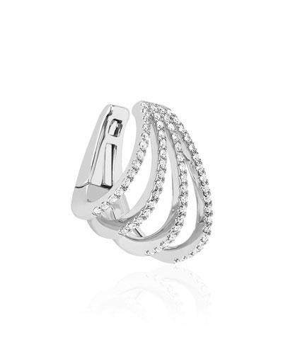 14k White Gold Caged Diamond Ear Cuff, Single, Left