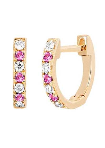 14k Rose Gold Diamond and Pink Sapphire Huggie Earring, Single