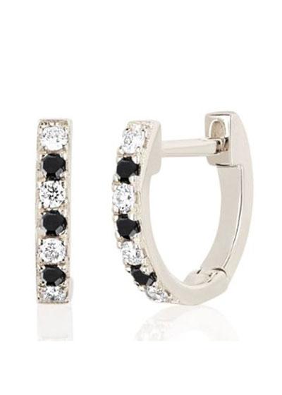 14k White Gold Black and White Diamond Huggie Earring, Single
