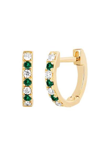 14k Rose Gold Diamond and Tsavorite Huggie Earring, Single