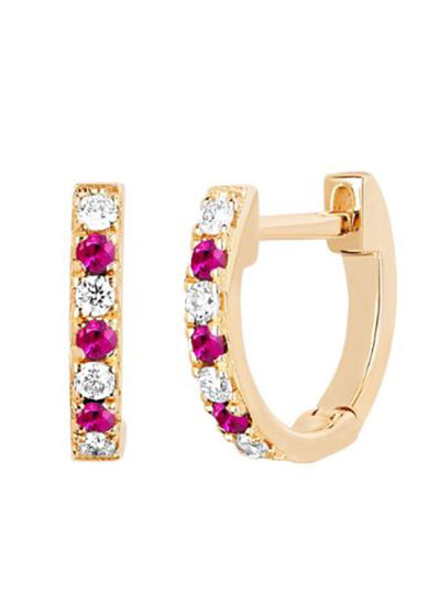 14k Rose Gold Diamond and Ruby Huggie Earring, Single