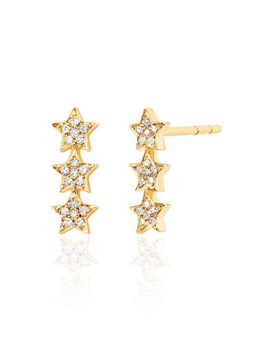 14k Diamond Triple Star Stud Earrings