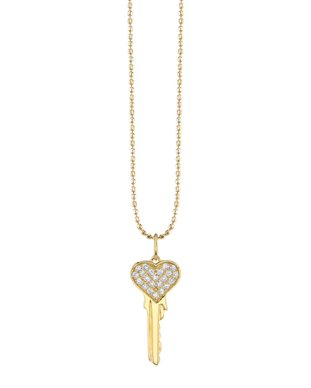 Sydney Evan Jewelry 14K YELLOW GOLD DIAMOND HEART KEY NECKLACE