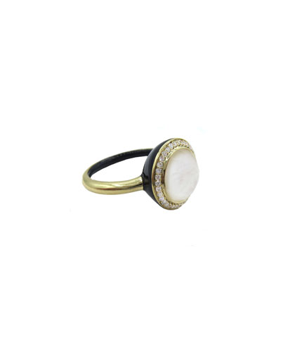 Lollipop Carnevale Ring in 18K Gold with Mother-of-Pearl Doublet and Colored Ceramic, Size 7