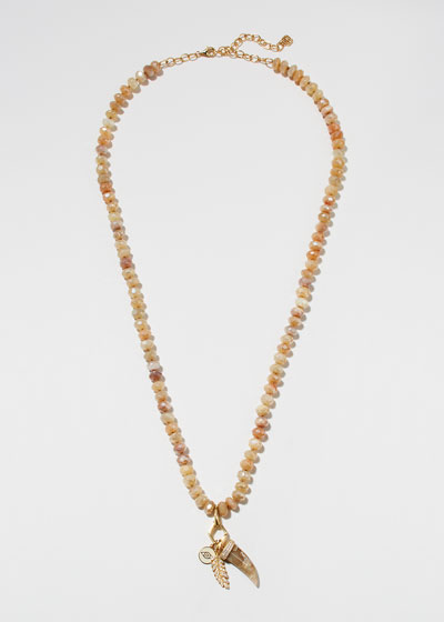 14k Moonstone Multi-Charm Necklace