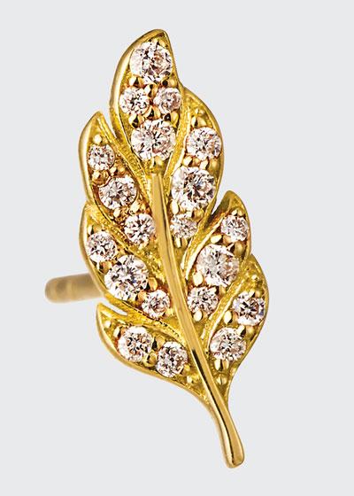 14k Diamond Feather Stud Earring, Single