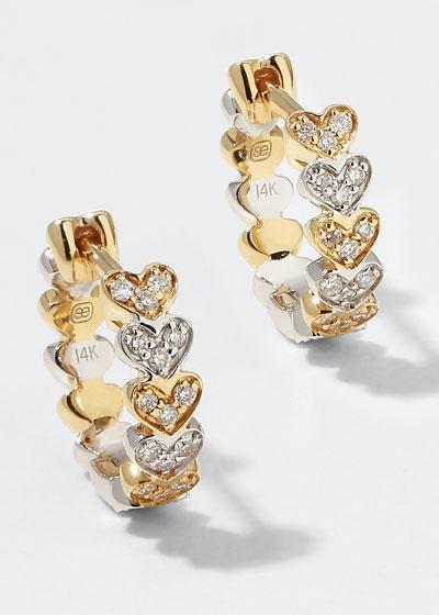 14k Two-Tone Gold Diamond Heart Huggie Earrings