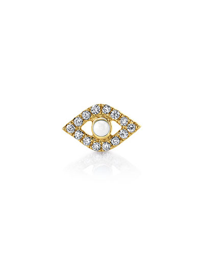 14k Pearl Stud Diamond Evil Eye Earring, Single