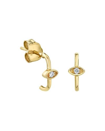 14k Diamond Marquise Eye Wire Earrings