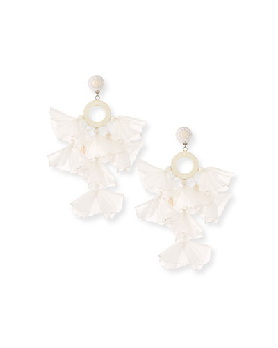 Skylar Stick Pearl And Tassel Clip Earrings