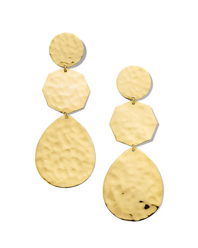 Classico Crinkle Hammered Snowman Earrings in 18K Gold