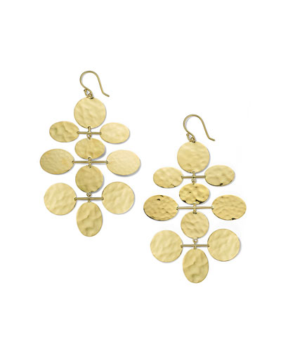 Classico Crinkle Hammered Mobile Cascade Earrings in 18K Gold