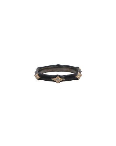 New World Diamond and Enamel Stack Ring, Black, Size 6.5