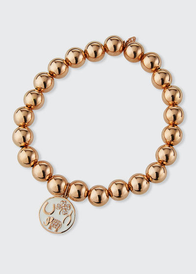 14k Rose Gold White Enamel Diamond Luck Tableau Bracelet