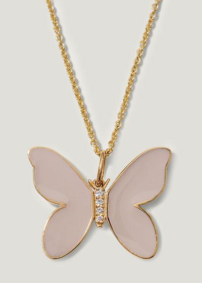 14K Beige Enamel Diamond Butterfly Necklace