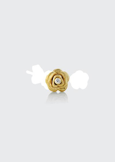 14k Diamond-Bezel Rose Stud Earring, Single