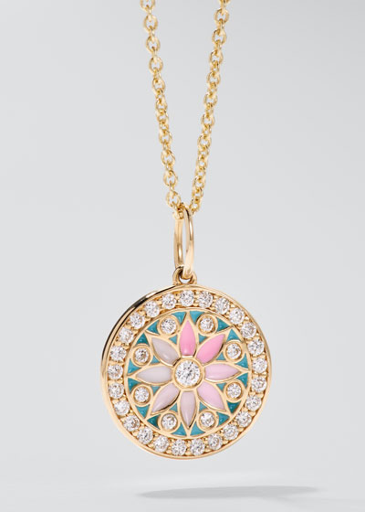 14k Yellow Gold Kaleidoscope Diamond Charm Necklace