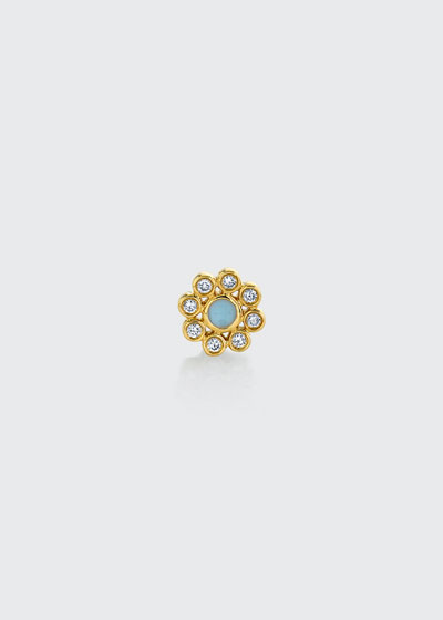 14k Diamond and Cornflower Stud Earring, Single