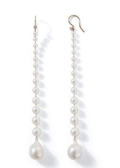14k Long Graduated Pearl Drop Earrings