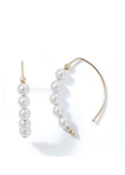14k Small Marquise Pearl Earrings