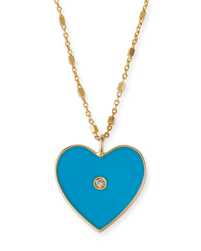 18k Fifi Short Heart Necklace, Turquoise