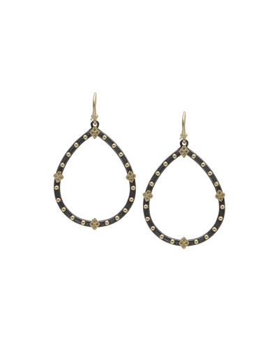 Old World Champagne Diamond Open Pear Earrings