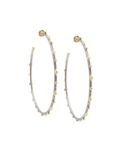 Old World Two-Tone Thin Hoop Earrings with Crivelli