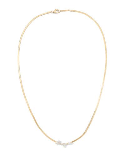 14k Mini Diamond Curved Necklace