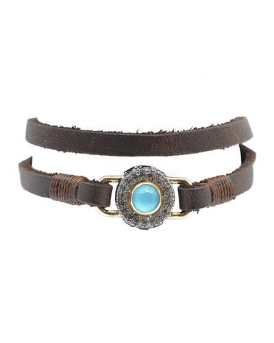 Old World Diamond Pave and Turquoise/Quartz Doublet Bracelet