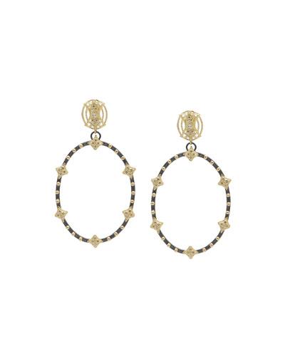 Old World Open Oval Diamond Earrings