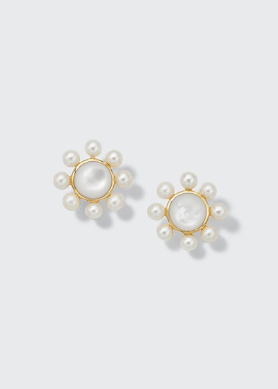 Nova Round Post Earrings with Satellite Beads in 18K Gold with Mother-of-Pearl & Pearl