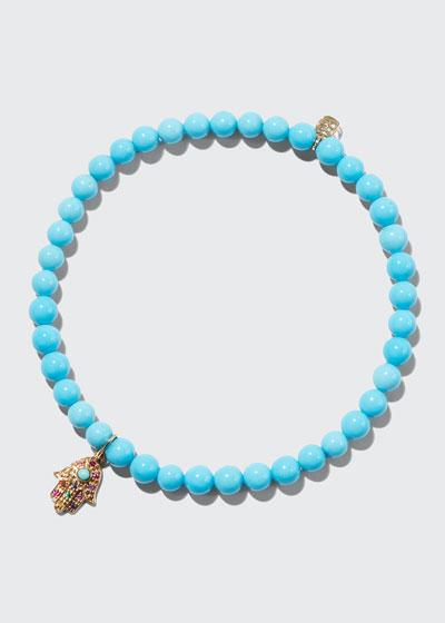 Rainbow Hamsa Turquoise Bead Bracelet
