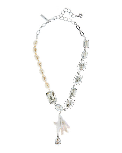 Floating Crystal and Pearl Necklace