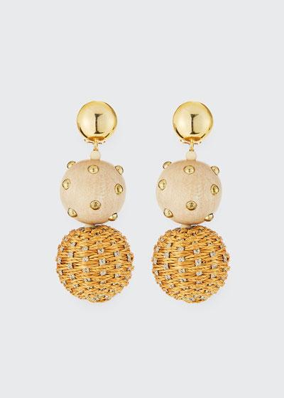 Raffia and Wood Ball Clip Earrings