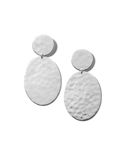 Classico Crinkle Hammered Oval Snowman Earrings