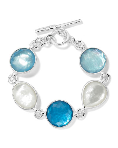 Wonderland 5-Stone Flexible Bracelet in Sterling Silver with Mother-of-Pearl and Doublets in ...