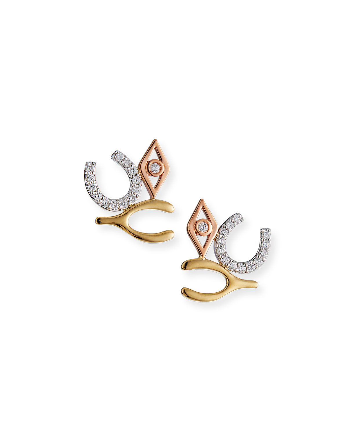 Sydney Evan TRI-TONE LARGE LUCK AND PROTECTION STUD EARRINGS